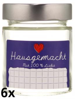 """6er Folienpack - Weithalsglas Vaso Plus 156 ml weiß inkl. TO58 Deep silber und Etikett """"Hausgemacht"""" in blau (65x40 mm) Stück"""