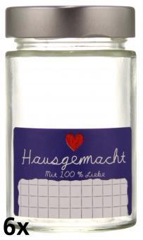 """6er Folienpack - Weithalsglas Vaso Plus 212ml weiß inkl. TO58 Deep silber und Etikett """"Hausgemacht"""" in blau (65x40mm) Stück"""