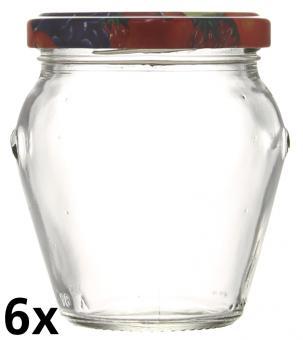 6er Folienpack - Weithalsglas Orcio 212ml weiß inkl. TO63 Fruchtmotiv Stück