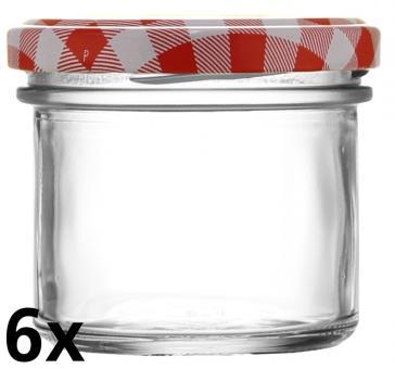 6er Folienpack - Sturzglas 125ml weiß inkl. TO66 rot/weiß Karo Stück