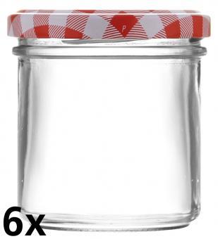 6er Folienpack - Sturzglas 167ml weiß inkl. TO66 rot/weiß Karo Stück