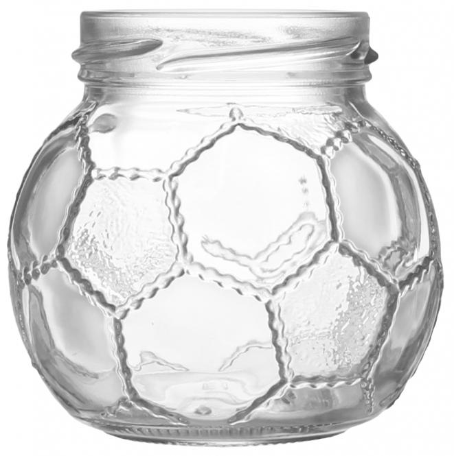 Weithalsglas Fußball 212ml weiß TO58 Stück