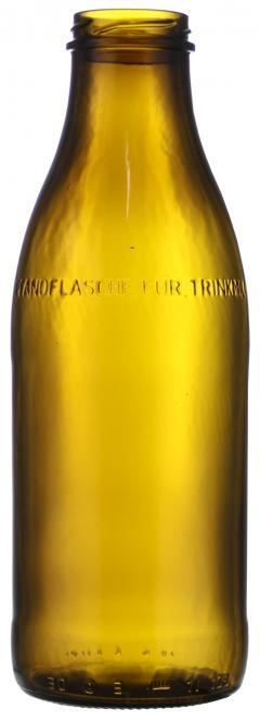 """Weithalsflasche 1000ml braun TO48 (mit Aufschrift \""""Pfandflasche für Trinkmilch\"""")"""