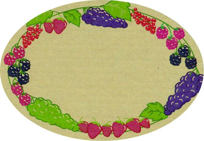 Schmucketikett Oval klein 65x45mm - Naturpapier Selbstklebend Motiv: Beeren  -  Farbe: bunt Packung á 250 Stück auf Rolle Stück