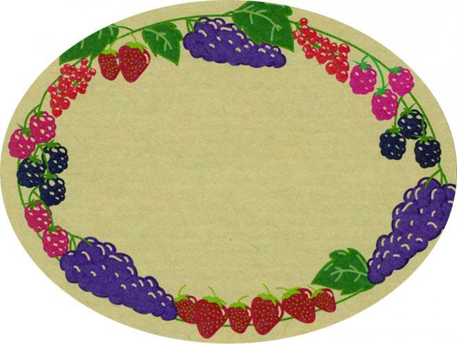 Schmucketikett Oval groß 77x 58mm - Naturpapier Selbstklebend Motiv: Beeren  -  Farbe: bunt Packung á 250 Stück auf Rolle