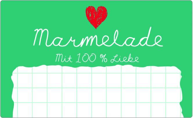 Schmucketikett Marmelade 65x40mm weiß/grün Selbstklebend Packung á 100 Stück auf Rolle Stück