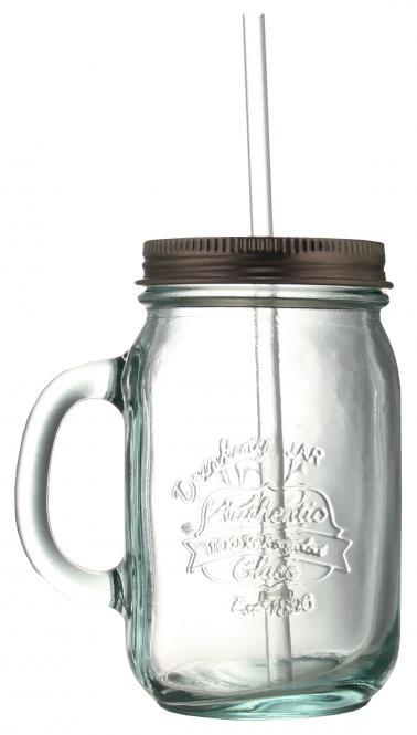 Weithals Trinkglas 550ml weiß inkl. Schraubdeckel silber und Strohhalm Stück