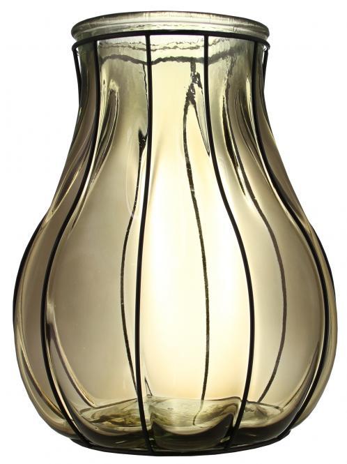 Windlicht Glas rauchgrau im Drahtgestell Stück