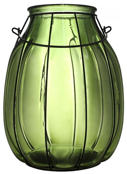 Windlicht Glas grün mit Drahtgestell