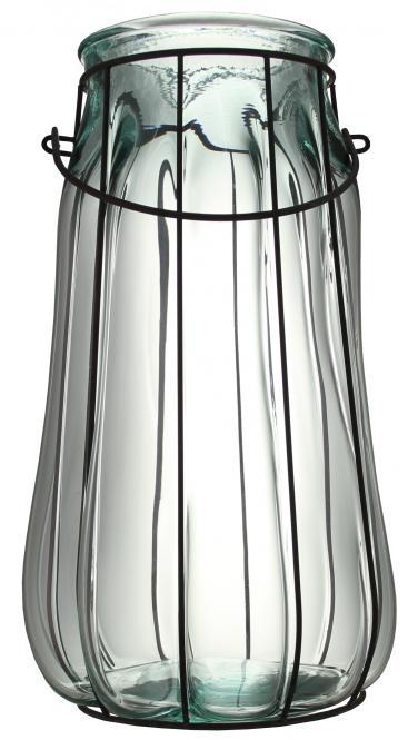 Windlicht Glas weiß mit Drahtgestell Stück