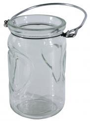 Windlichtglas zum Hängen mit Herz d6,5x11cm