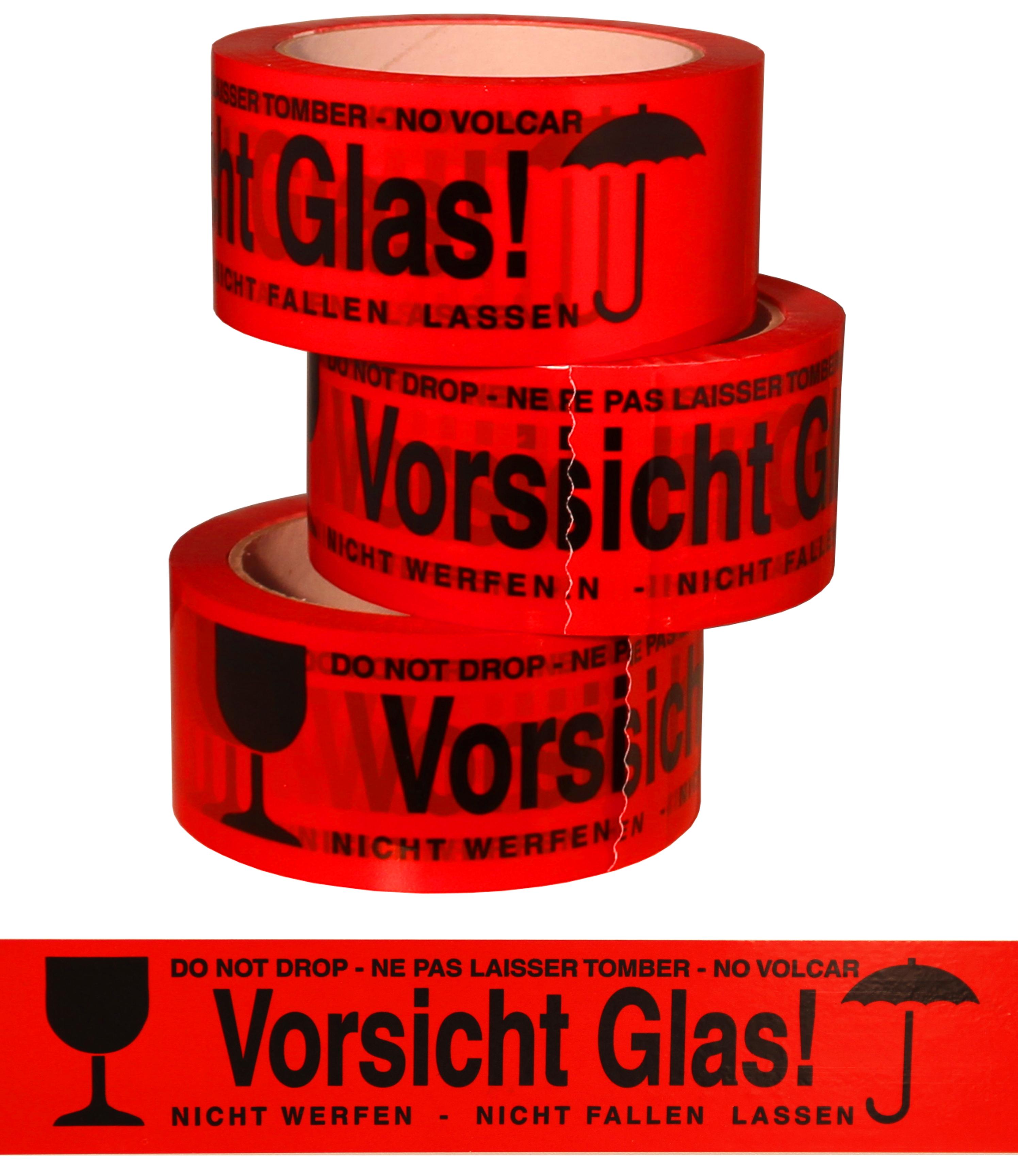 klebeband bunt vorsicht glas 50mm x 60m st ck online kaufen flaschengro handel reis. Black Bedroom Furniture Sets. Home Design Ideas