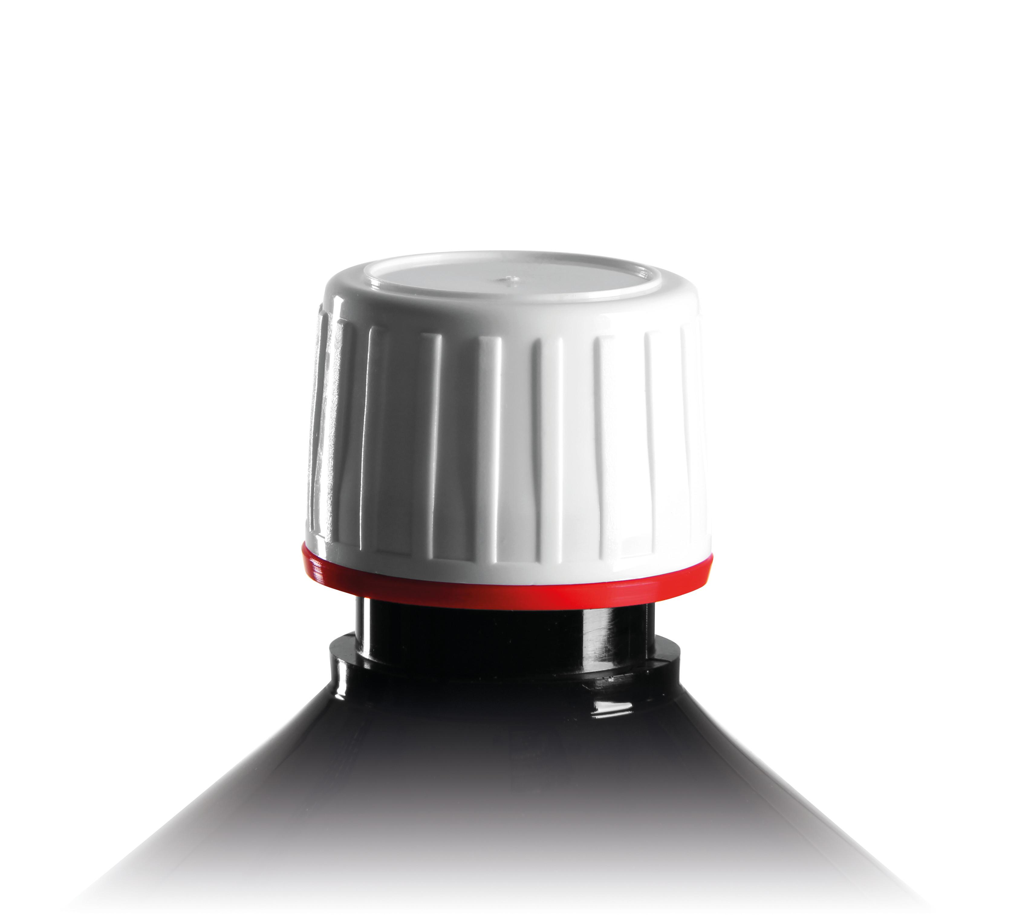 pp28 schraubverschluss wei f r euromed flaschen mit rotem. Black Bedroom Furniture Sets. Home Design Ideas